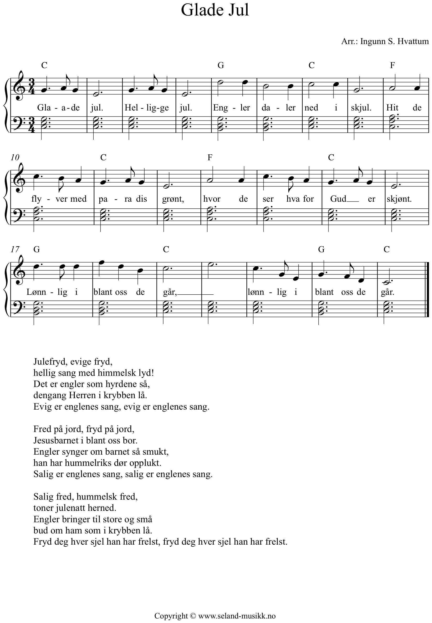 glade jul noter piano